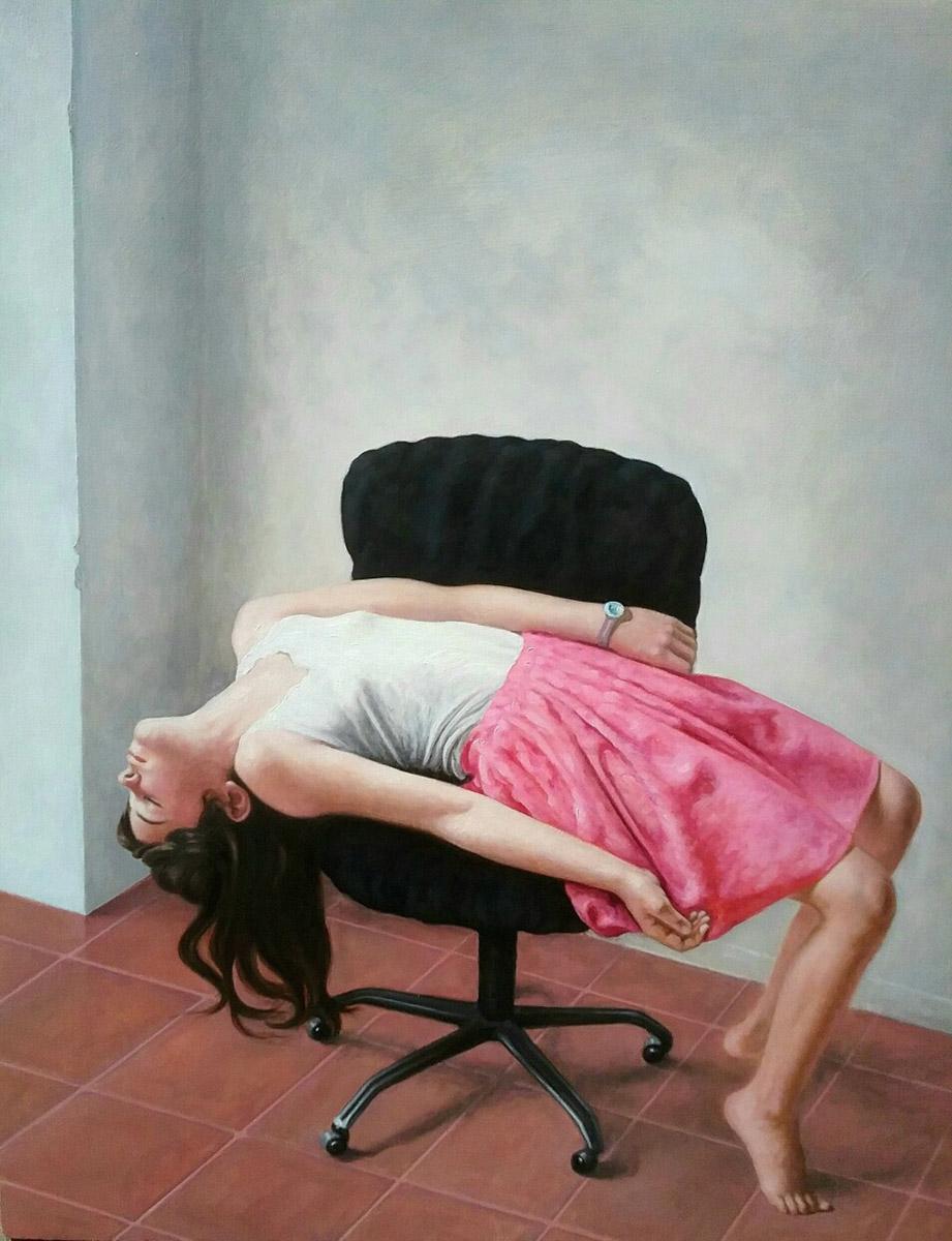 Daniele Vezzani, La sedia nera. Olio su tavola, 50x40 cm, 2018