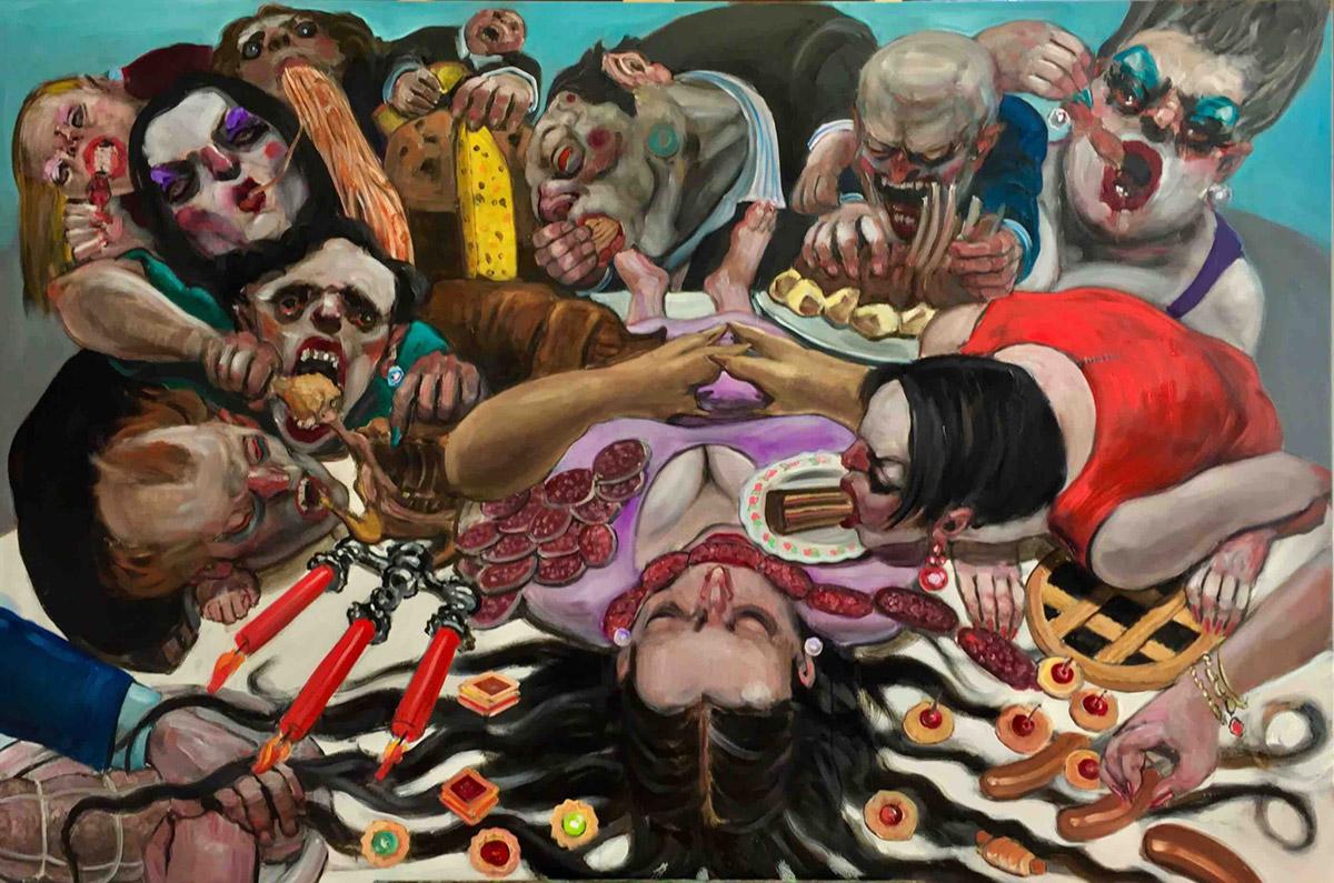 Enrico Robusti, Cari amici, forse non vi siete accorti che da qualche tempo mangiamo come se non esistesse un domani. Olio su tela, 2018