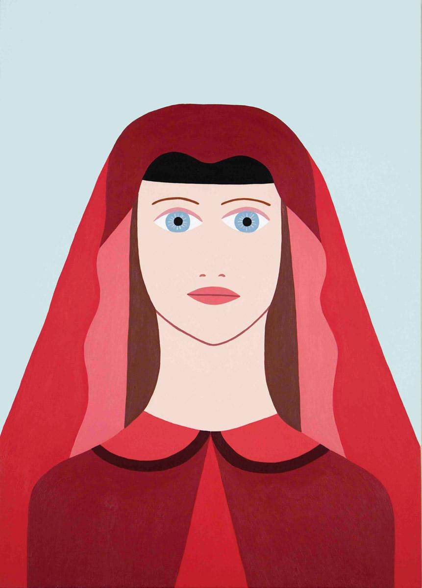 Fulvia Mendini, Madonnina della passione. Acrilico su legno, 42x30 cm, 2018