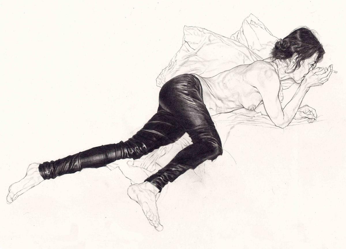 Riccardo Mannelli, Fuoriscena. Matita su carta, 30x45 cm, 2018