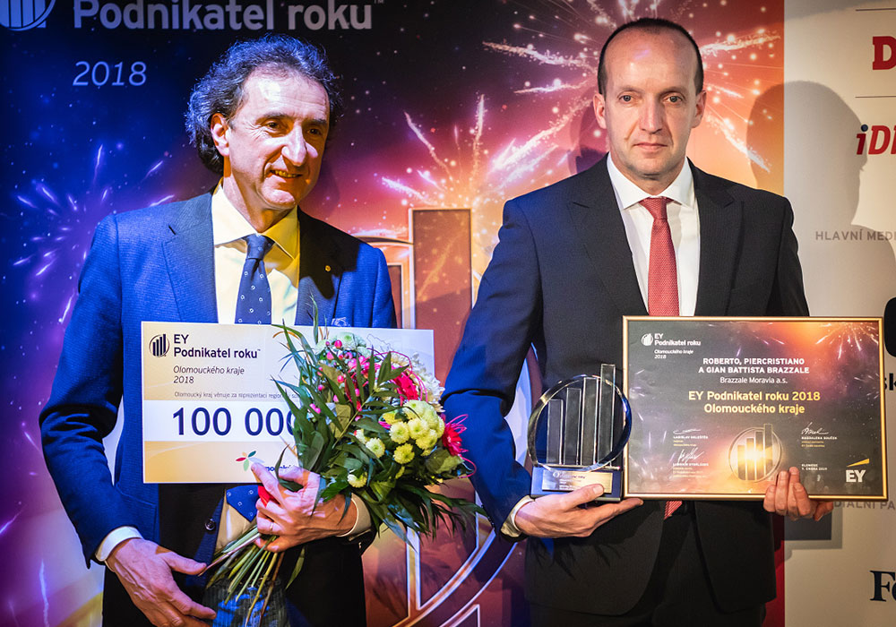 Roberto, Piercristiano e Gian Battista Brazzale eletti Imprenditori dell'Anno 2018 a Olomouc