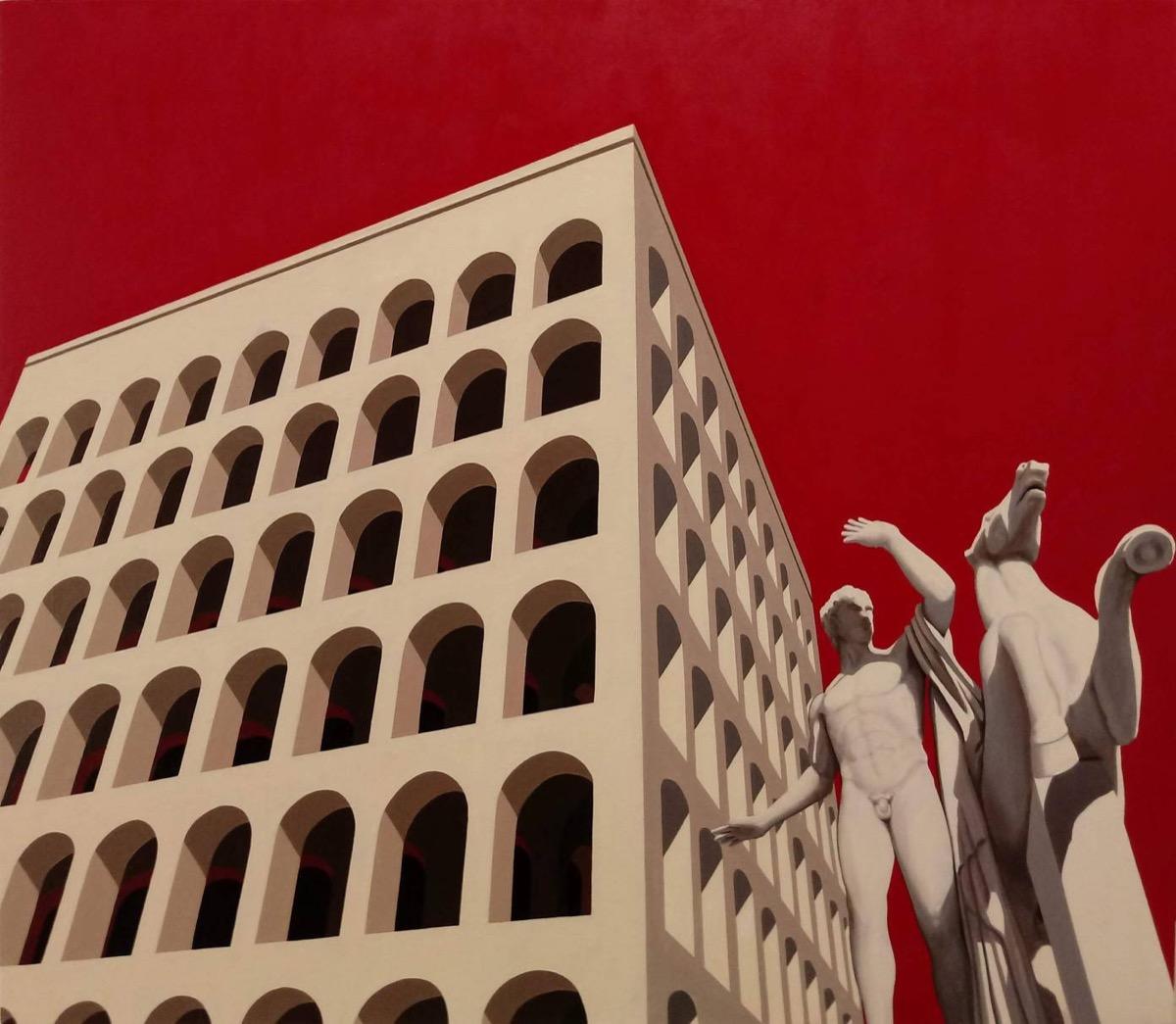 Mauro Reggio, Colosseo quadrato. Olio su tela, 60x80cm, 2019.
