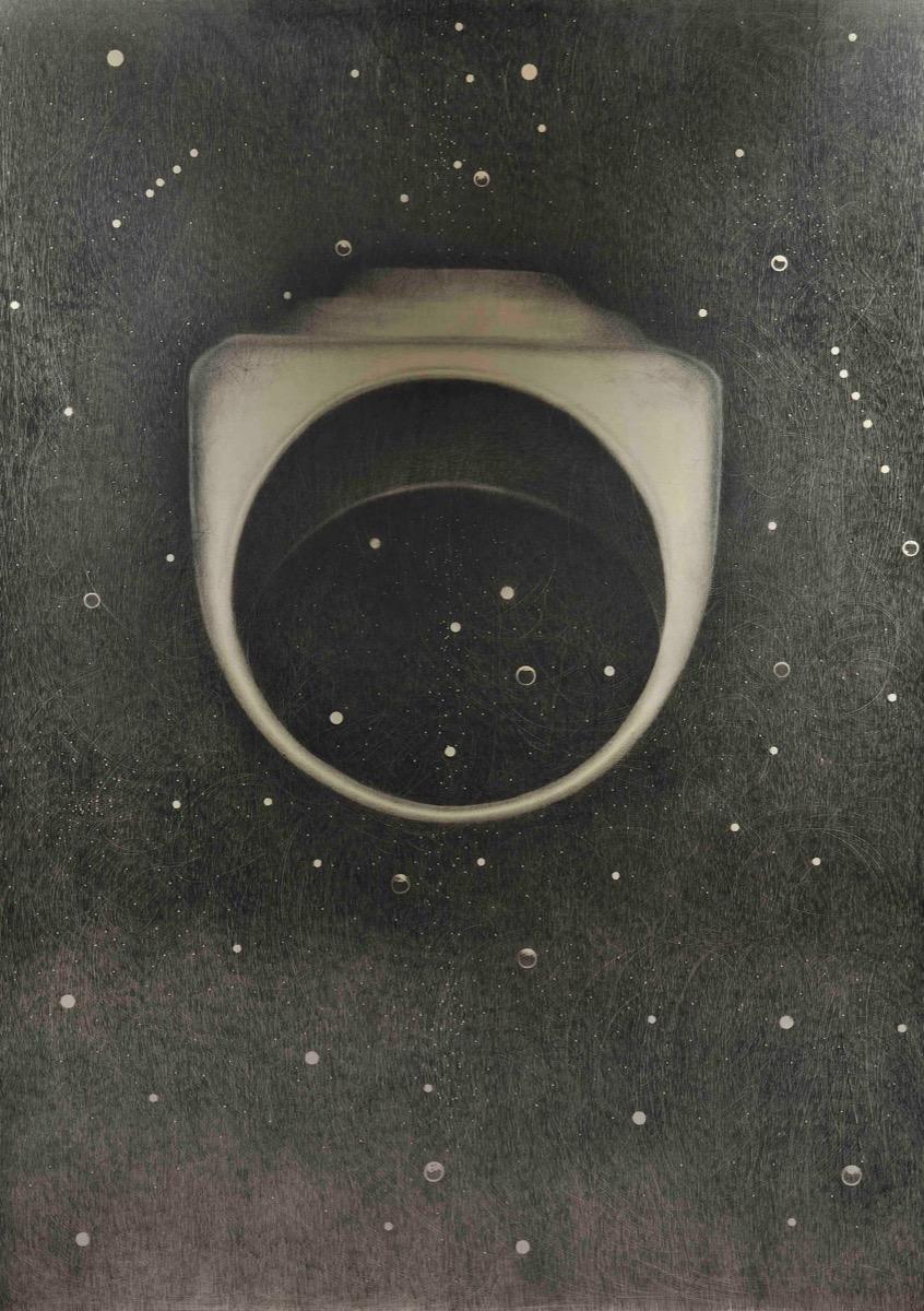 Omar Galvani, L'anello di Berenice. Matita su tavola, 232x160cm, 2019.