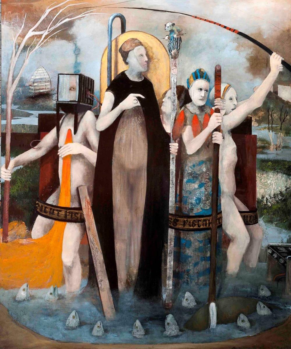 Sergio Padovani, La Pesca elettrica. Olio, bitume e resina su tela, 150x180cm, 2019.