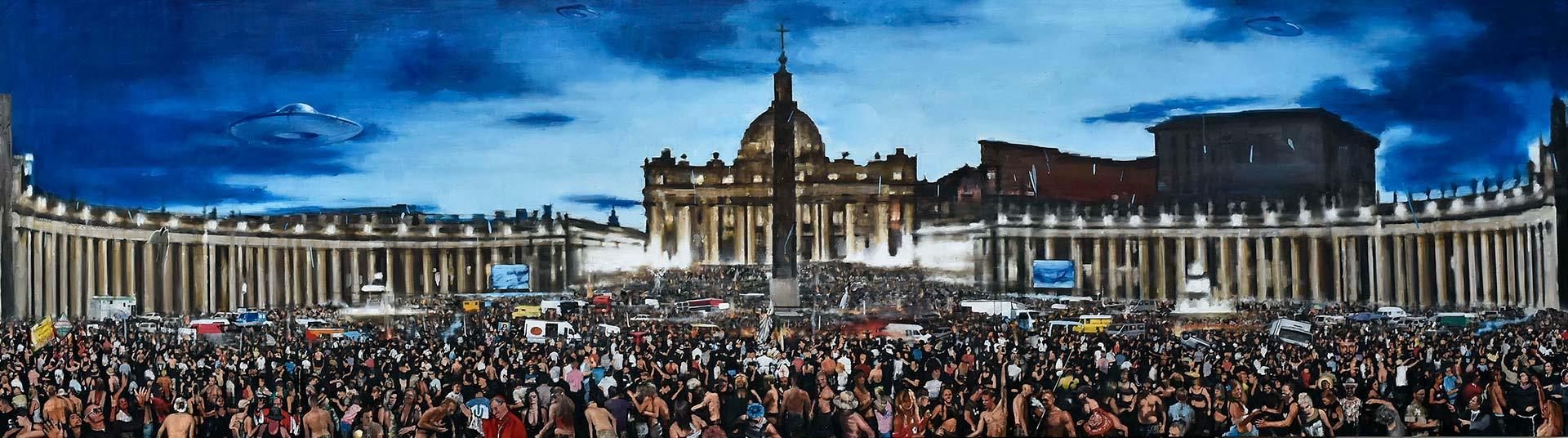 Daniele Galliano, L'uscita di Cristo dal Vaticano. Olio su tela, 100x350 cm, 2020