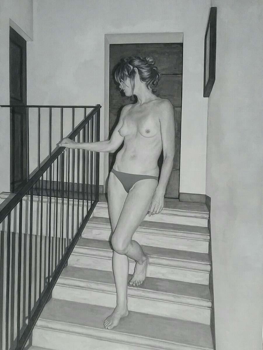Daniele Vezzani, Donna che scende le scale. Olio su tela, 200x150 cm, 2020
