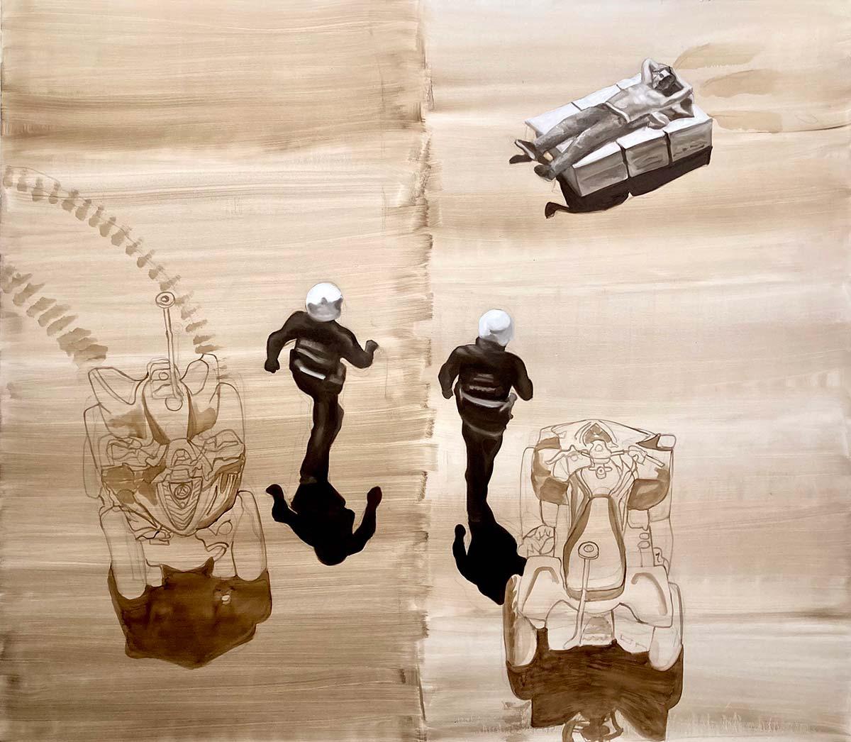 Barbara Nahmad, L'epoca e i lupi. Olio su tela, 150x170 cm, 2020.