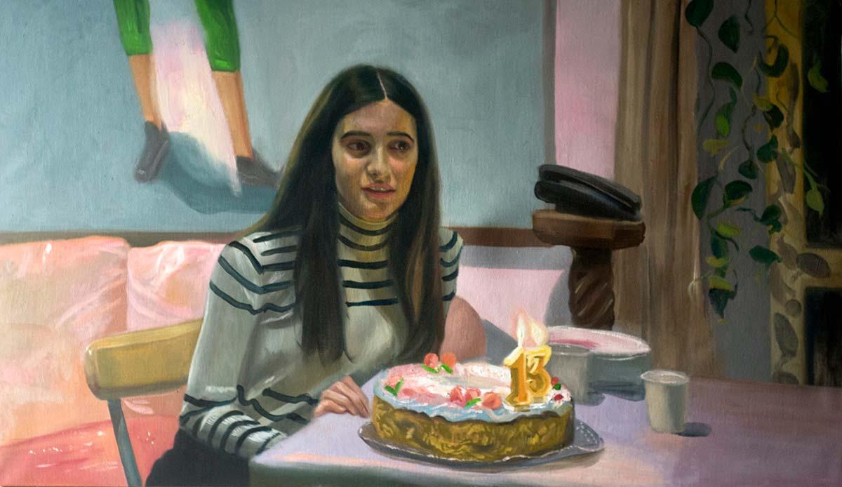 Federico Lombardo, La sognatrice [figlia]. Olio su tavola, 140x85 cm, 2020