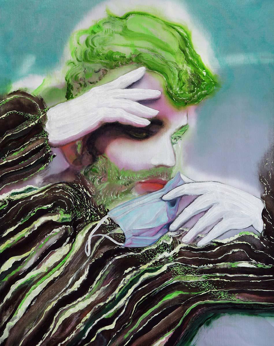 Maurizio Bongiovanni, Untitled. Olio e spray su tela, 95x73 cm, 2020